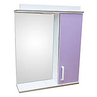Зеркало 60 для ванной комнаты с подсветкой и шкафчиком Дебют Перфект сирень