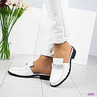 Женские туфли мюли без задника на плоском ходу,натуральная итальянская кожа.