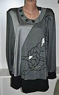 Блуза женская серого цвета с длинным рукавом большой размер, фото 1