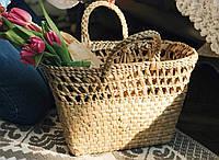 Соломенная сумка, пляжная сумка, плетеная еко сумка ручной работы