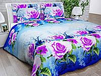 Бязь Gold Фиолетовые розы на голубом 1074-3
