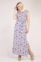 Длинное платье в цветочный принт из стрейч-льна