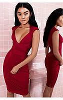 Бордовое  бандажное платье Herve Leger, фото 1