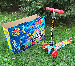 """Трехколесный самокат Best Scooter Mini """"Граффити""""с регулировкой высоты руля, цвет на выбор"""