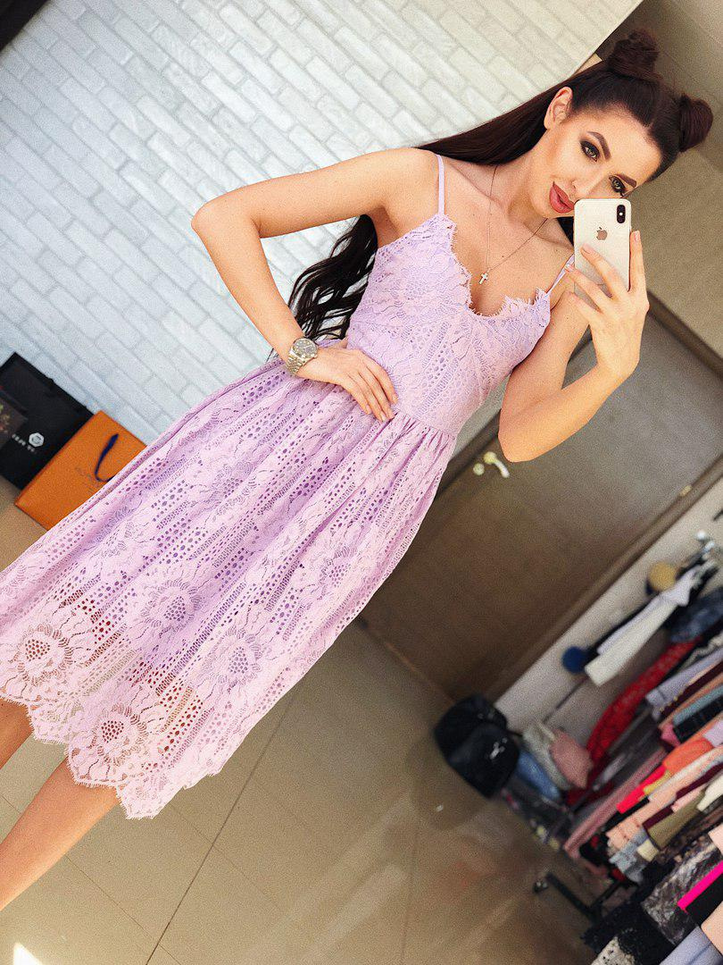 74b01249af93151 Нарядное, женское, летнее платье-миди на бретелях с пышной юбкой (гипюр и