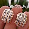 Большие золотые серьги с цирконием и алмазной насечкой