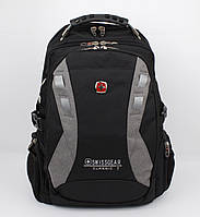 Рюкзак городской SwissGear 9371 черный с серым, выход для USB, наушников, дождевик