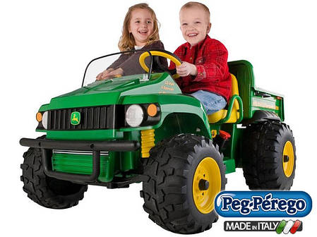 Детский двухместный электромобиль Peg Perego грузовик John Deere Gator с откидным кузовом 12V, мощность 340W, фото 2