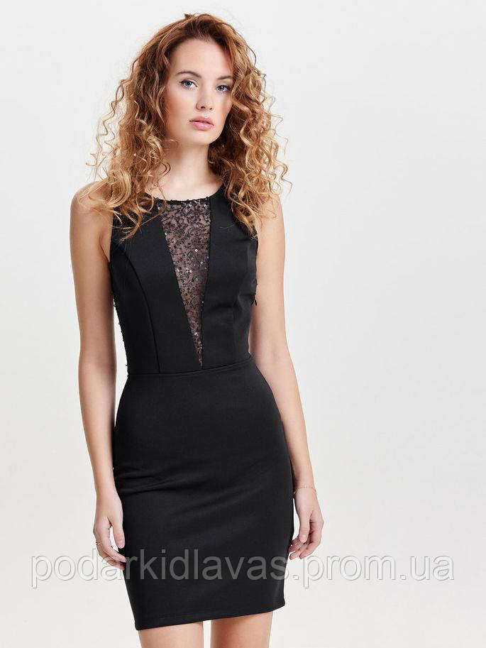 Черное нарядное платье с пайетками ONLY размер М