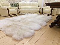Коврик из 10-ти декоративных овечьих шкур, белый цвет, размер 200х260