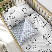 """Детское односпальное постельное белье в кроватку Warmo™ """"Овечки"""""""