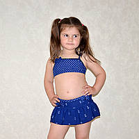 Раздельный синий детский купальник, для девочек на возраст 5-7 лет, комплект тройка, с юбкой, 32 размер
