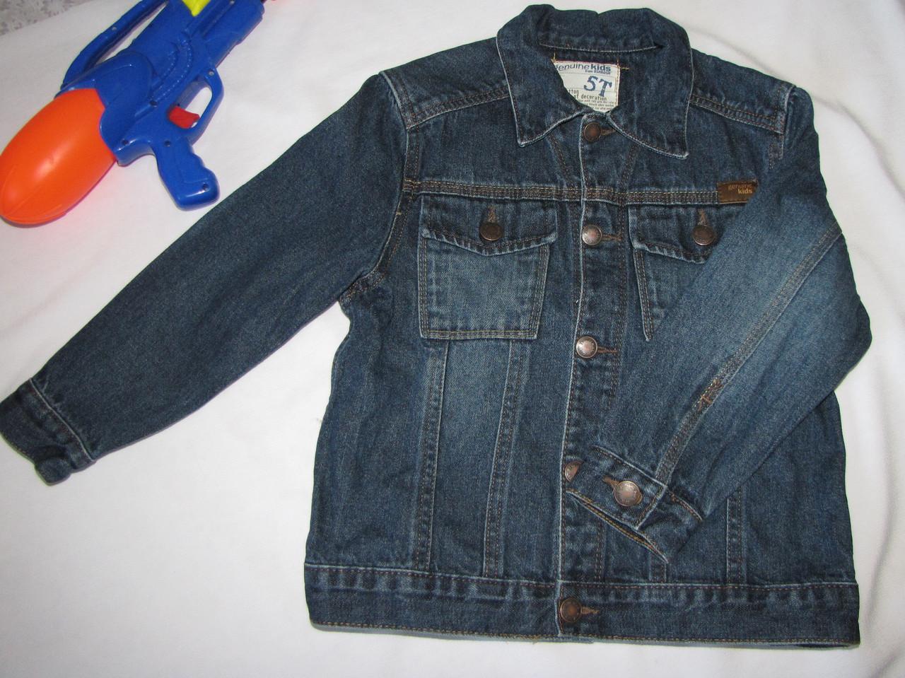 Джинсовая куртка  Genuine Kids оригинал рост 110 см темно синяя 07136