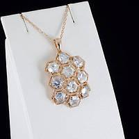 Великолепный кулон с кристаллами Swarovski + цепочка, покрытые золотом 0838