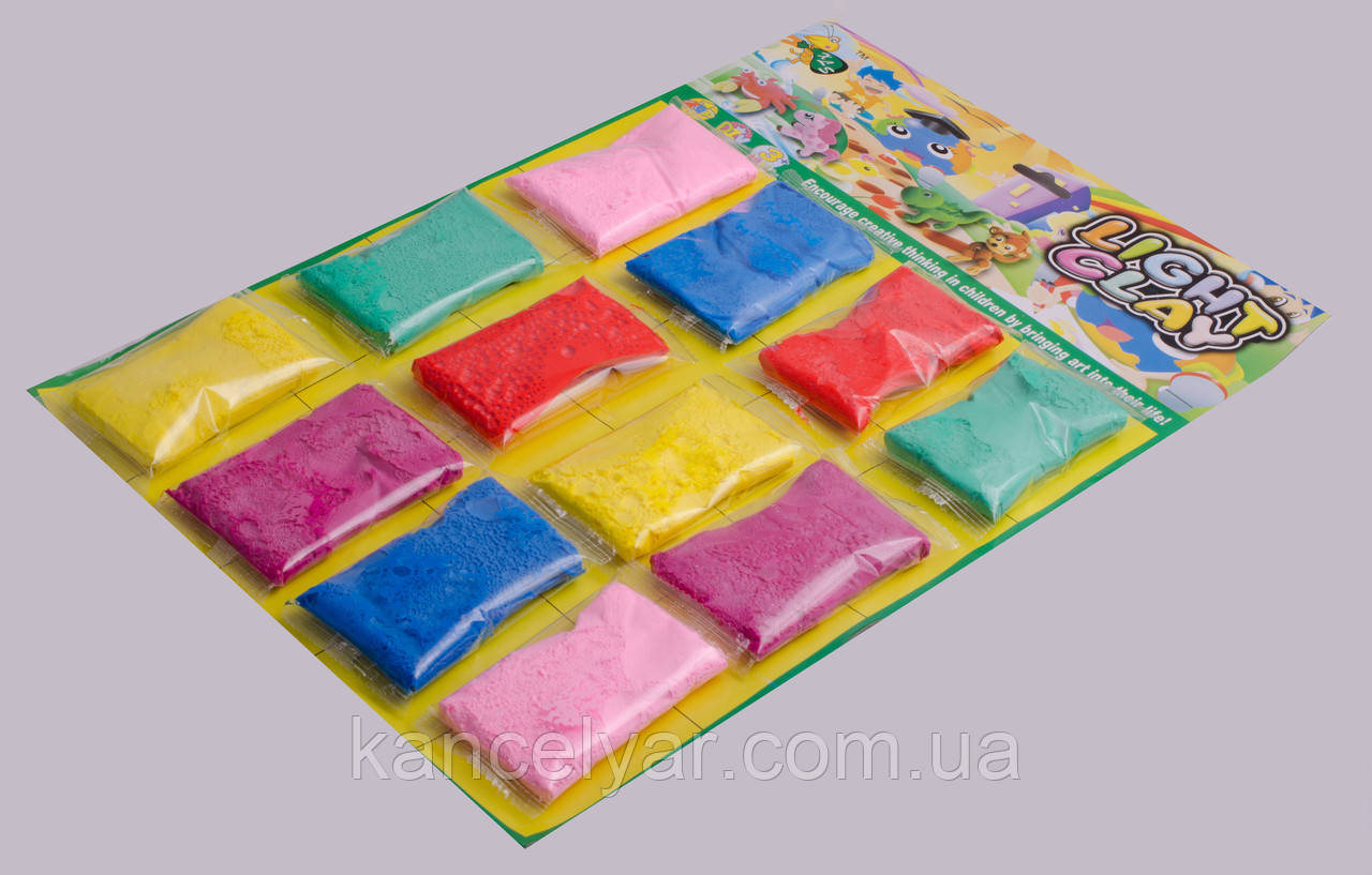 Пластилиновое тесто, 12 пакетиков на планшете