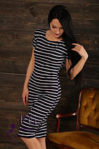 """Летнее прямое платье в полоску с разрезом сбоку,  миди  """"Регина"""", темно-синяя, фото 3"""