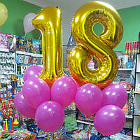 Фонтан из 2-х цифр и 12 шаров 30 см