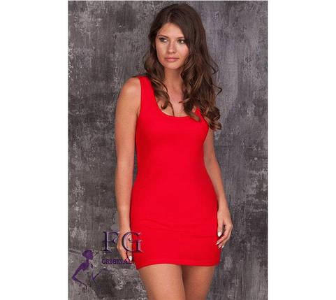 """Яркое летнее приталенное женское платье майка, мини """"Jersey"""", красное, фото 2"""