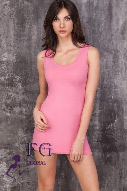 Модное летнее платье майка по фигуре мини розовое
