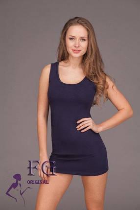Эластичное летнее платье майка в обтяжку выше колен темно-синее, фото 2