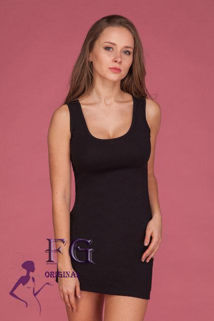 """Женское летнее платье майка по фигуре, до середины бедра """"Jersey"""", черное"""
