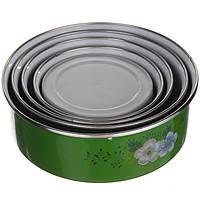 Набор круглых судочков с крышкой A-PLUS 5шт (0961) Зеленый