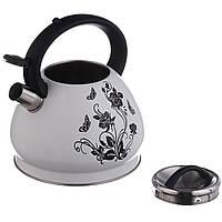 Чайник со свистком 3,2 л с термо-рисунком (1388) Цветок