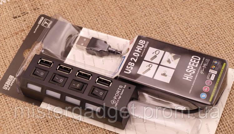Адаптер хаб 4 USB HUB Кардридер , фото 2