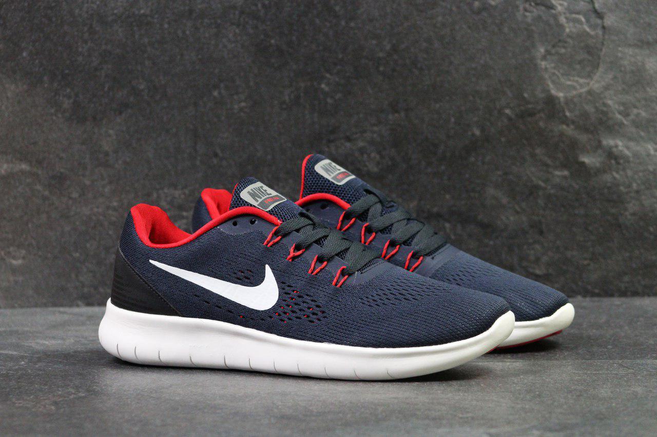 04f3ed08b2bb Летние мужские кроссовки Nike Free RN, темно-синие с белым (Реплика ...