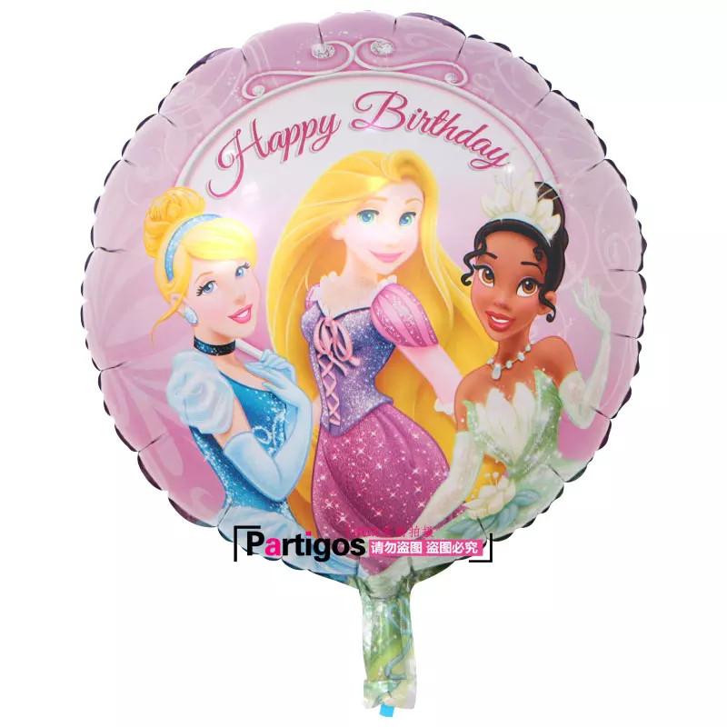 Двухсторонний круглый воздушный шарик с днем рождения принцессы дисней 45 см.