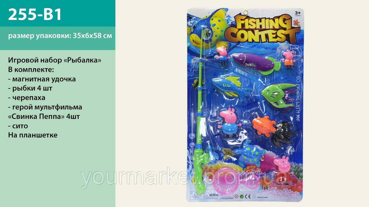 Рыбалка 255-B1 магнит. удочка, рыбки, сито, на планшетке 58*35 см