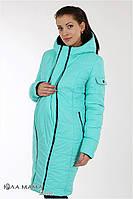 """Длинное зимнее двухстороннее пальто для беременных """"Kristin"""" из плащевки, черный с бирюзой, фото 1"""