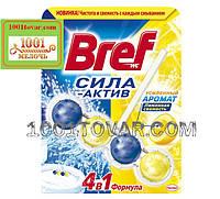 Туалетные блоки для унитаза Bref Сила Актив Лимонная Свежесть, 50 г