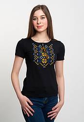 Вишита жіноча футболка на чорному трикотажі з оригінальним орнаментом