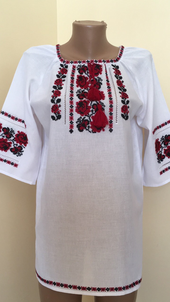 6fa779815c51c4 Вишиванка жіноча біла ручна робота вишивка хрестиком 44 розмір ...