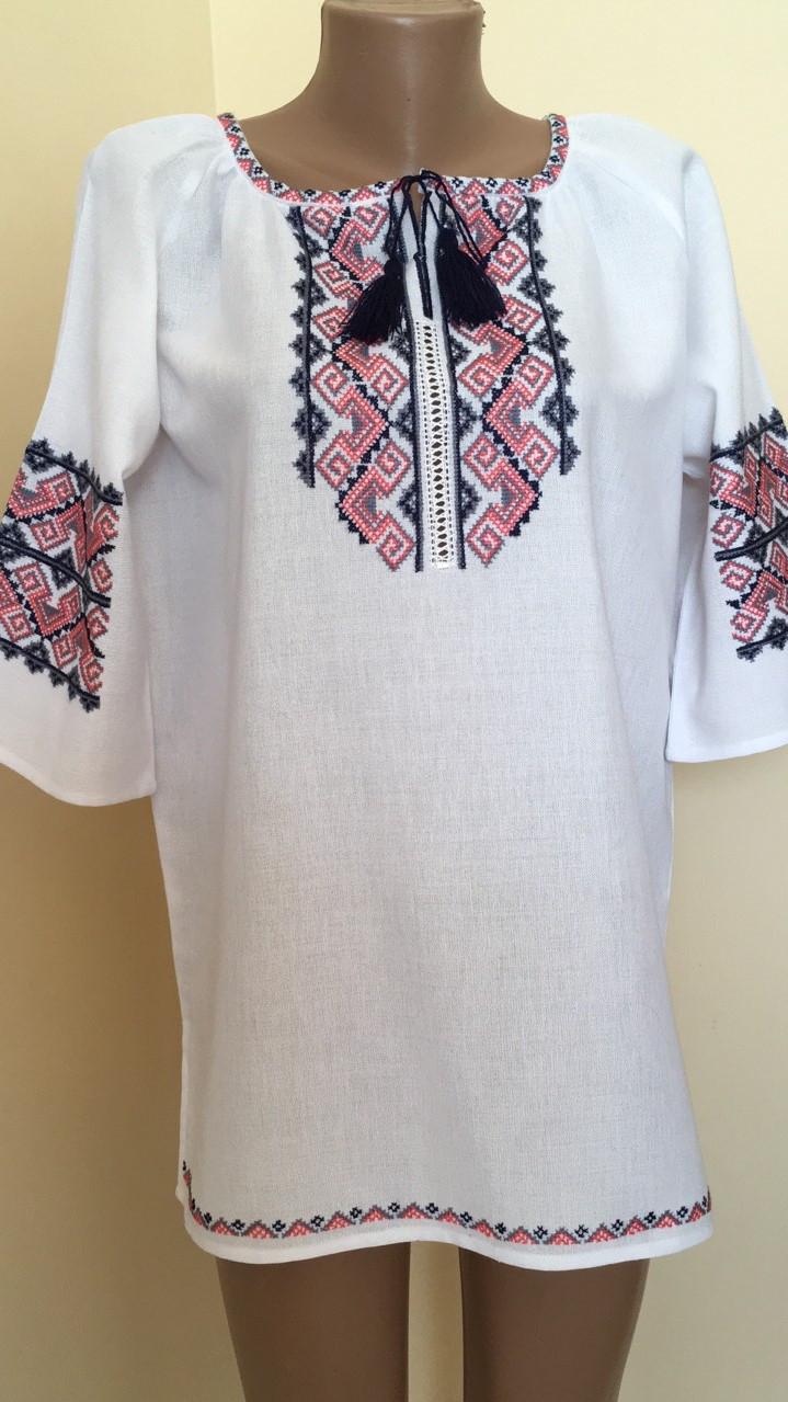 195db8bb06ac80 Вишиванка жіноча біла ручна робота вишивка хрестиком 50 розмір ...