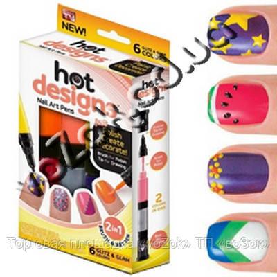 Набор для дизайна росписи ногтей Hot Designs Nail Art Pens 2 в 1 кисть и карандаш