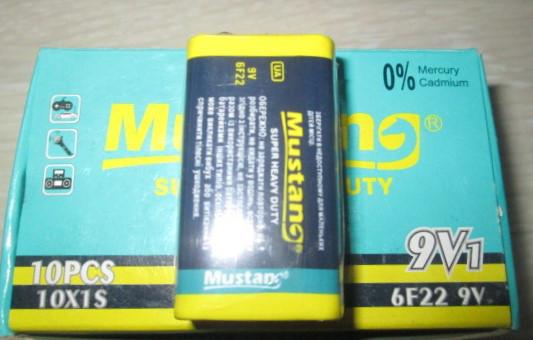 Батарейки Mustang 6F22  9V крона