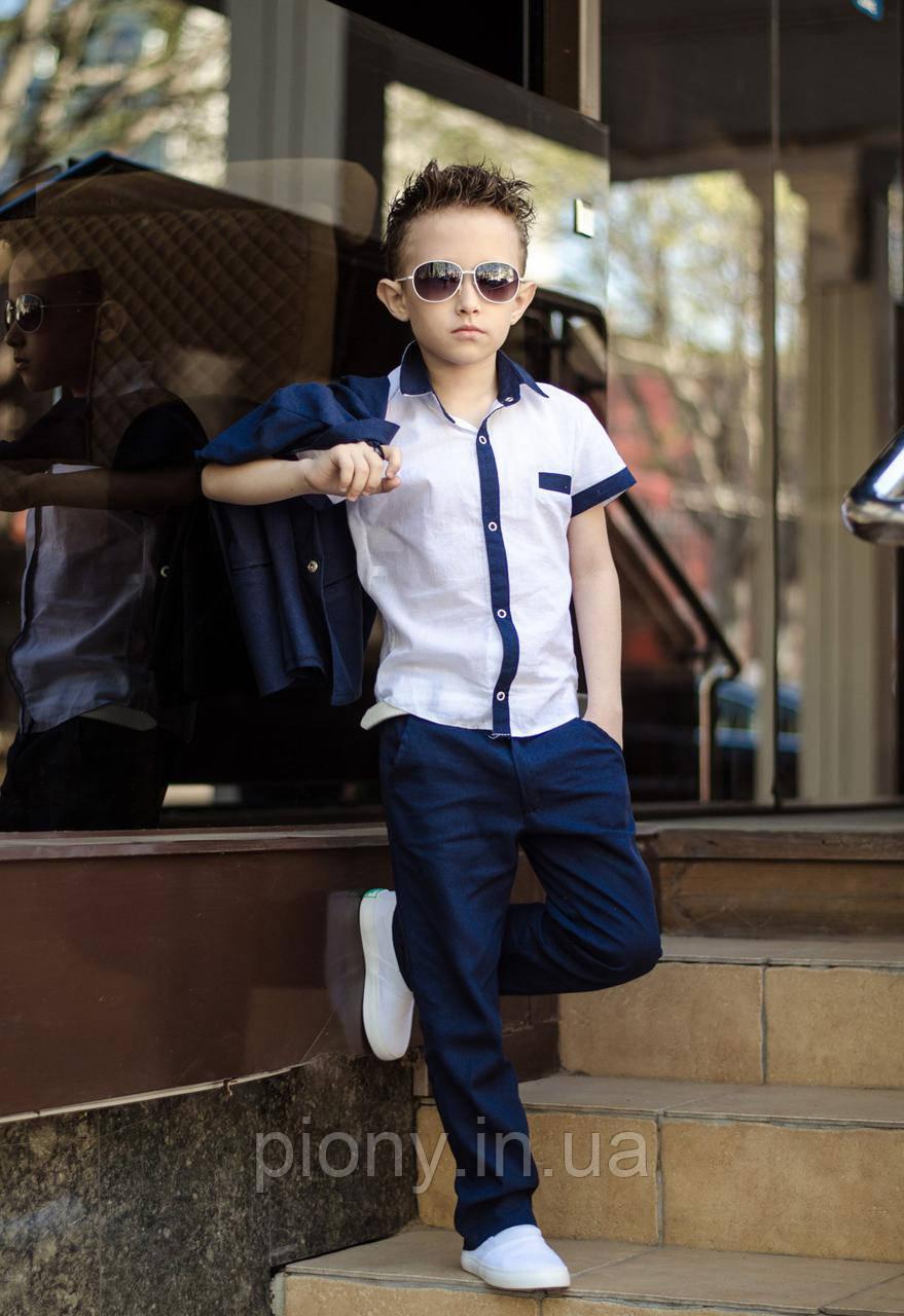 Детский Костюм на мальчика из льна тройка