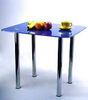 """Стол обеденный стеклянный на хромированных ножках Maxi DT R 800/700 """"синий"""" стекло, хром"""