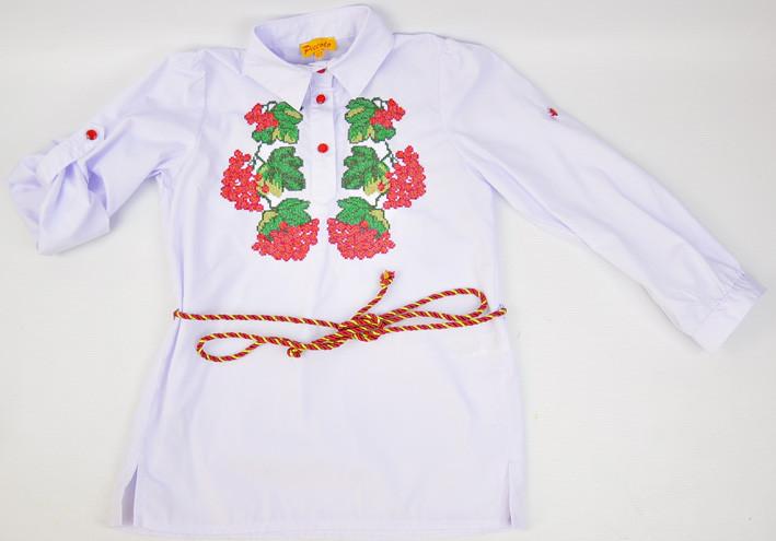 Вышиванка Калина белого цвета для девочки, Piccolo