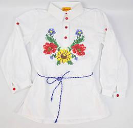 Вышиванка Цветы белого цвета для девочки, Piccolo
