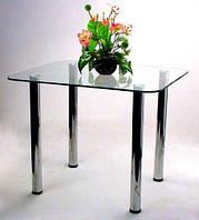 """Стол обеденный стеклянный на хромированных ножках Maxi DT R 900/800 """"прозрачный"""" стекло, хром"""