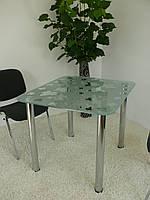 """Стол обеденный стеклянный на хромированных ножках Maxi DT R 900/800 """"клен"""" стекло, хром"""