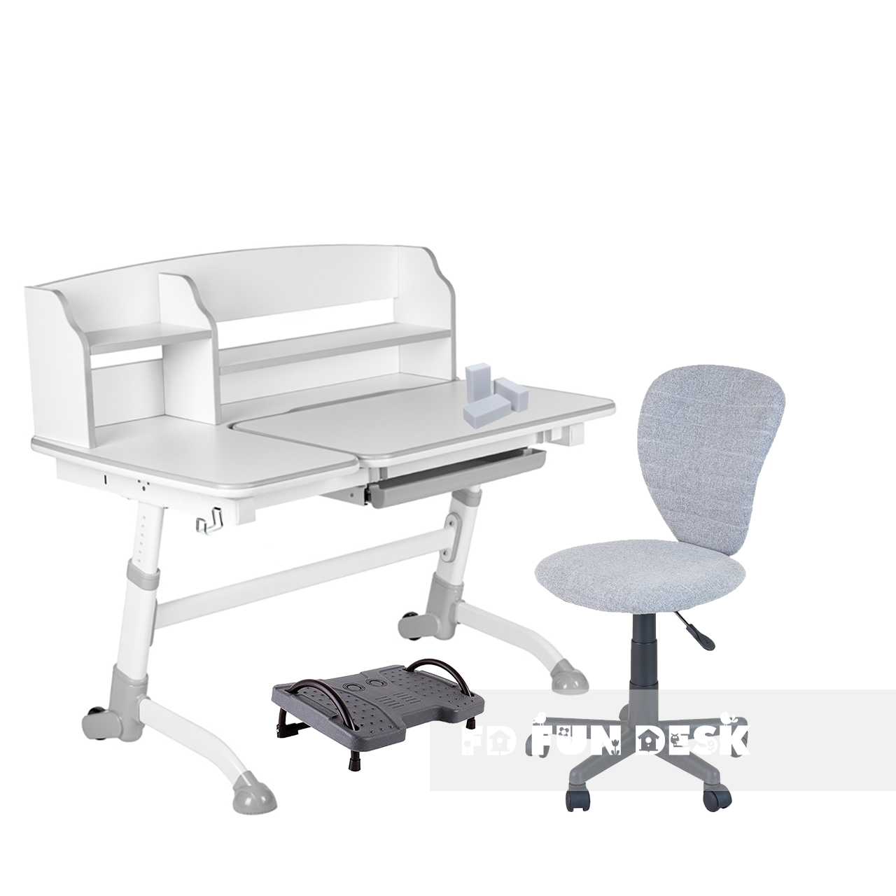 Комплект подростковая парта для школы Amare II Grey + ортопедическое кресло LST2 Grey FunDesk