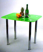 """Стол обеденный стеклянный на хромированных ножках Maxi DT DX 800/700 """"зеленый"""" стекло, хром"""