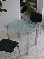 """Стол обеденный стеклянный на хромированных ножках Maxi DT DX 900/800 """"матовый клен"""" стекло, хром"""