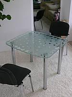 """Стол обеденный стеклянный на хромированных ножках Maxi DT DX 900/800 """"матовый клен"""" стекло, хром, фото 1"""