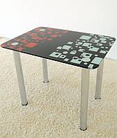 """Стол обеденный стеклянный на хромированных ножках Maxi DT R 1000/600 """"домино"""" стекло, хром"""