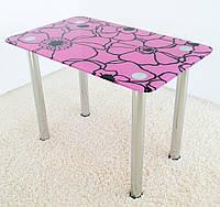 """Стол обеденный стеклянный на хромированных ножках Maxi DT R 1000/600 """"лиловые маки"""" стекло, хром, фото 1"""